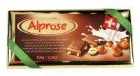 ALPROSE - Švýcarská mléčná čokoláda s celými lískovými ořechy 100g