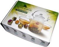 PANGEA TEA Dárková kazeta - konvice + 2 šálky + kvetoucí čaje 5ks