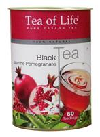 TEA OF LIFE Black Tea Jasmine Pomegranate papírová dóza 60 x 1,5g