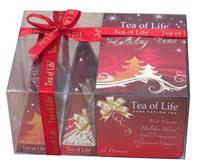 TEA OF LIFE - Dárkové vánoční pyramidky - červené 4x3x2g